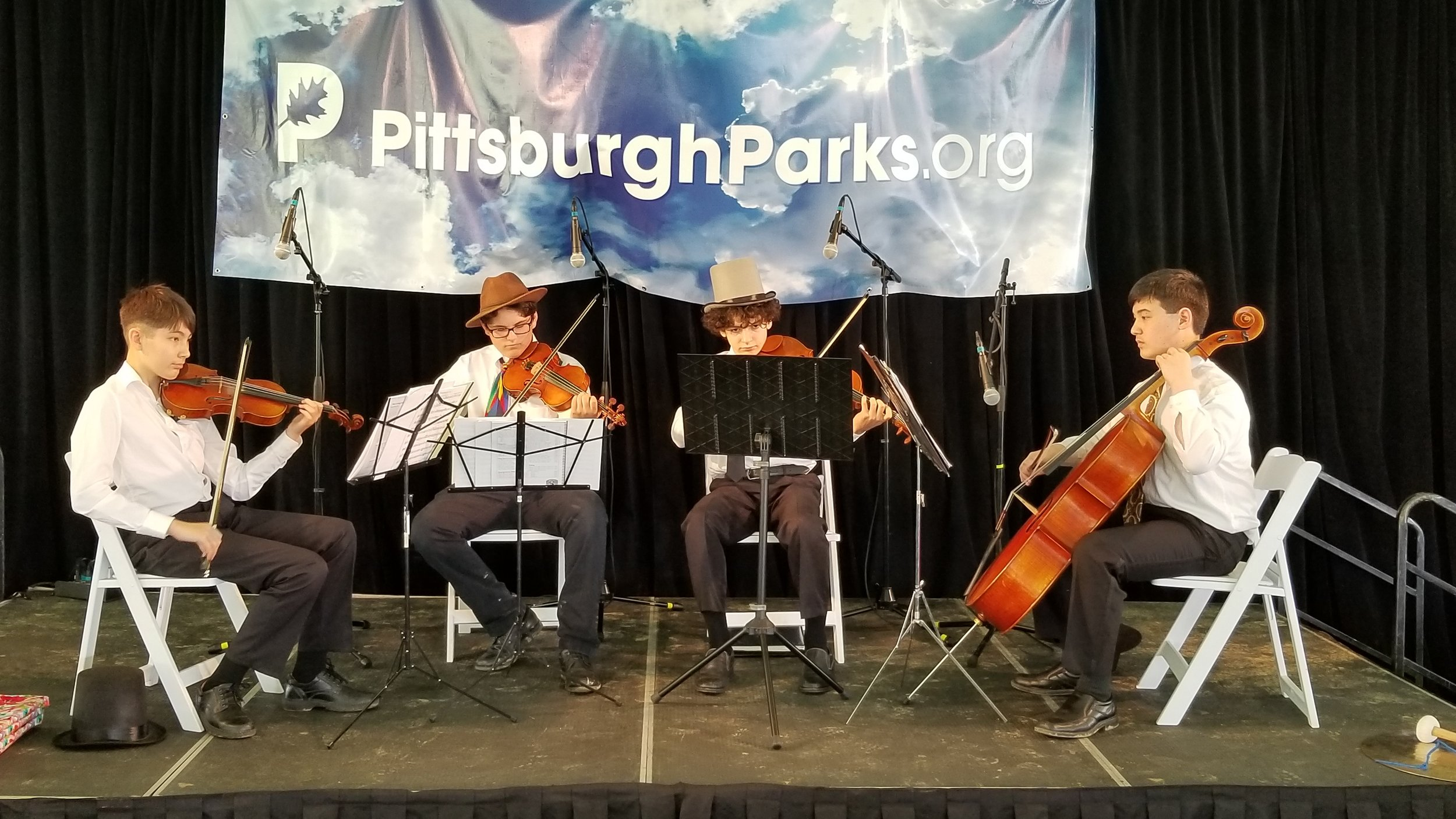 Annual Hat Luncheon - Saturday, May 4, 2019The UpBeat Quartet - Harry, Hector, Jonah, and Nick - performed for this prestigious, sold-out event, sponsored by the Pittsburgh Parks Conservancy to raise funds to support renovation and maintenance of our city parks.