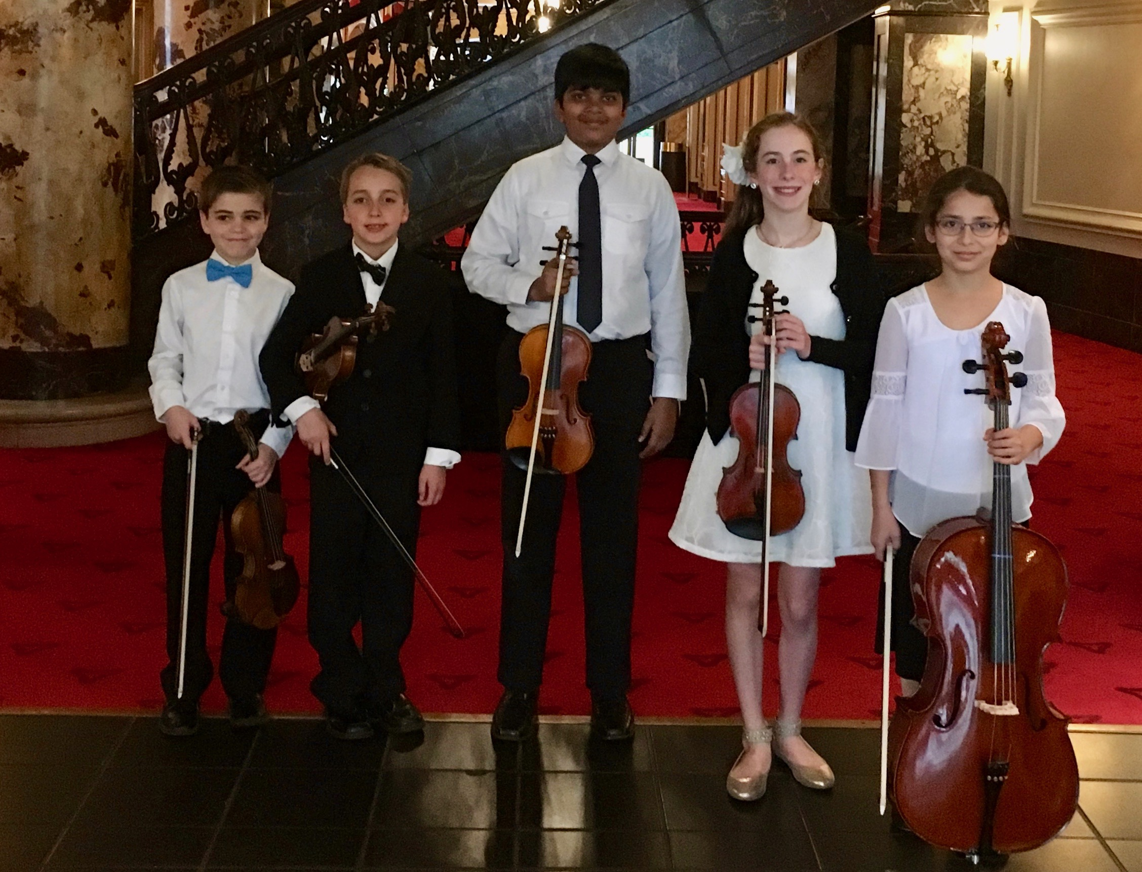 PYSO Pre-Concert - Sunday, May 5, 2019The Tintin Quintet (pictured - Brady, Julien, Aravind, Stella, and Ozlem), along with the Lark Quartet, Goldenrod Quartet, and the Taylor Trio, performed in the Heinz Hall lobby before the Spring Concert of the Pittsburgh Youth Symphony Orchestra.