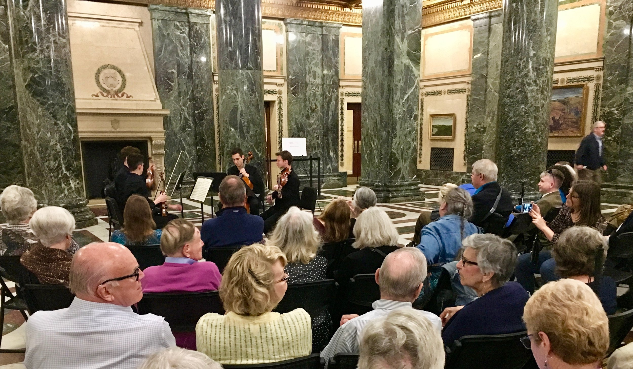 Chamber Music Pittsburgh - Monday, May 6, 2019The Mercurial Quartet - Charlie, Zach, Felix, and Noah - performed in the foyer of Carnegie Music Hall before a Chamber Music Pittsburgh recital featuring former PSO Concertmaster Noah Bendix-Balgley.