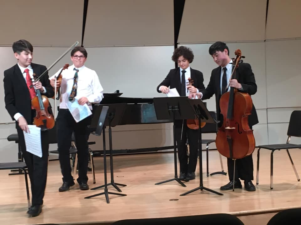 PNC Recital Hall - Saturday, May 11, 2019Five of our Saturday YC2 groups performed in PNC Recital Hall for their Spring Recital. Photos below: The Turtlehead Quartet - Tommy, Stella, Clara, and Zeynep; Casia Quartet - Stephen, Alyssa, Jack, and Emma; Tiger Lily Quintet - Olivia, Rachael, Jeongwoo, Henry, and Jackson; UpBeat Quartet - Harry, Hector, Jonah, and Nick; and the Finestra Quintet - Mei, Maeve, Mirra, Nora, and Rowan. Coming soon: Click on each photo below to watch their performance!