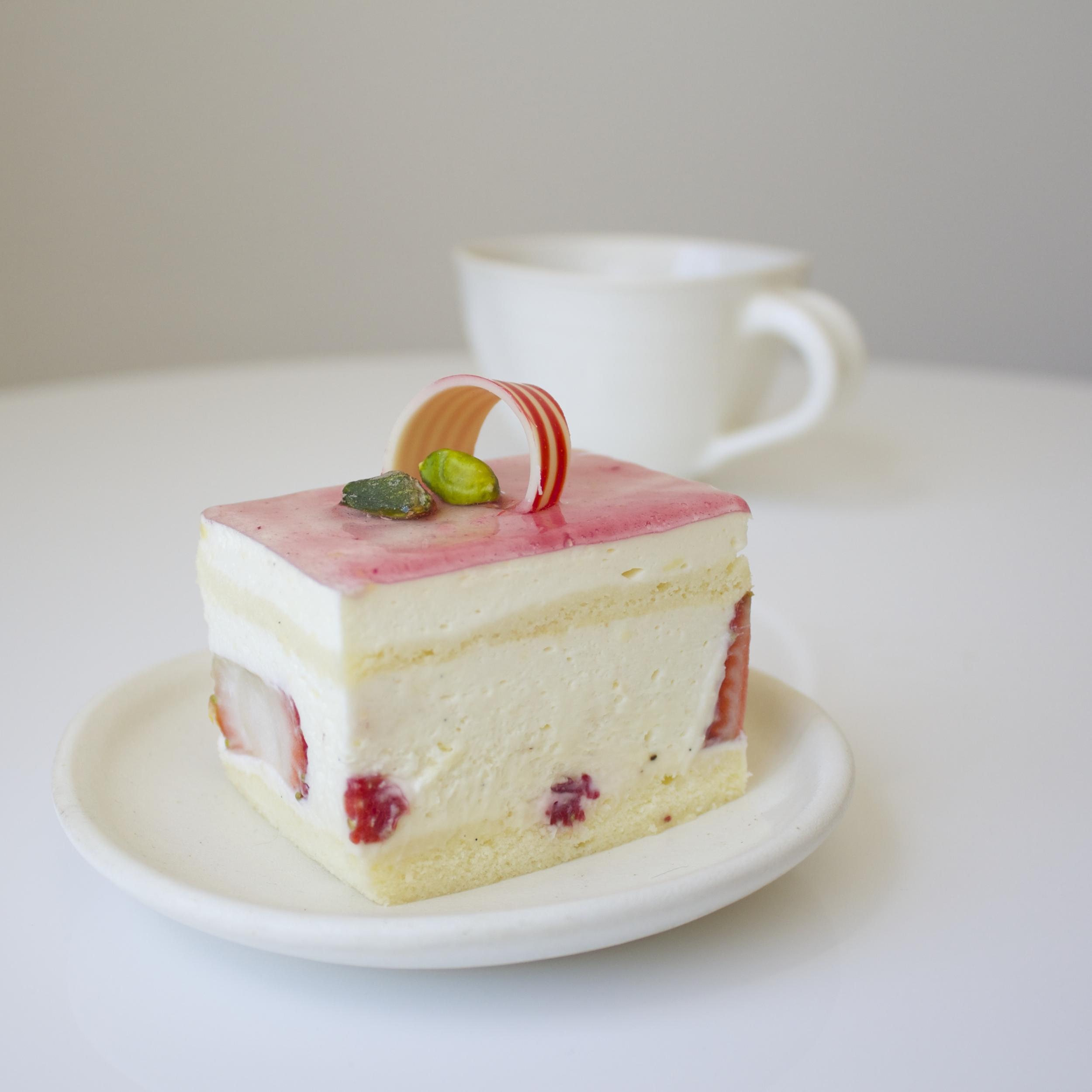 Strawberry Vanilla Mousse Cake