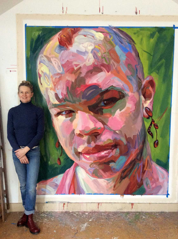 "Jo Hay, artist with Bombshell, 2017 Oil on canvas 72x84"""