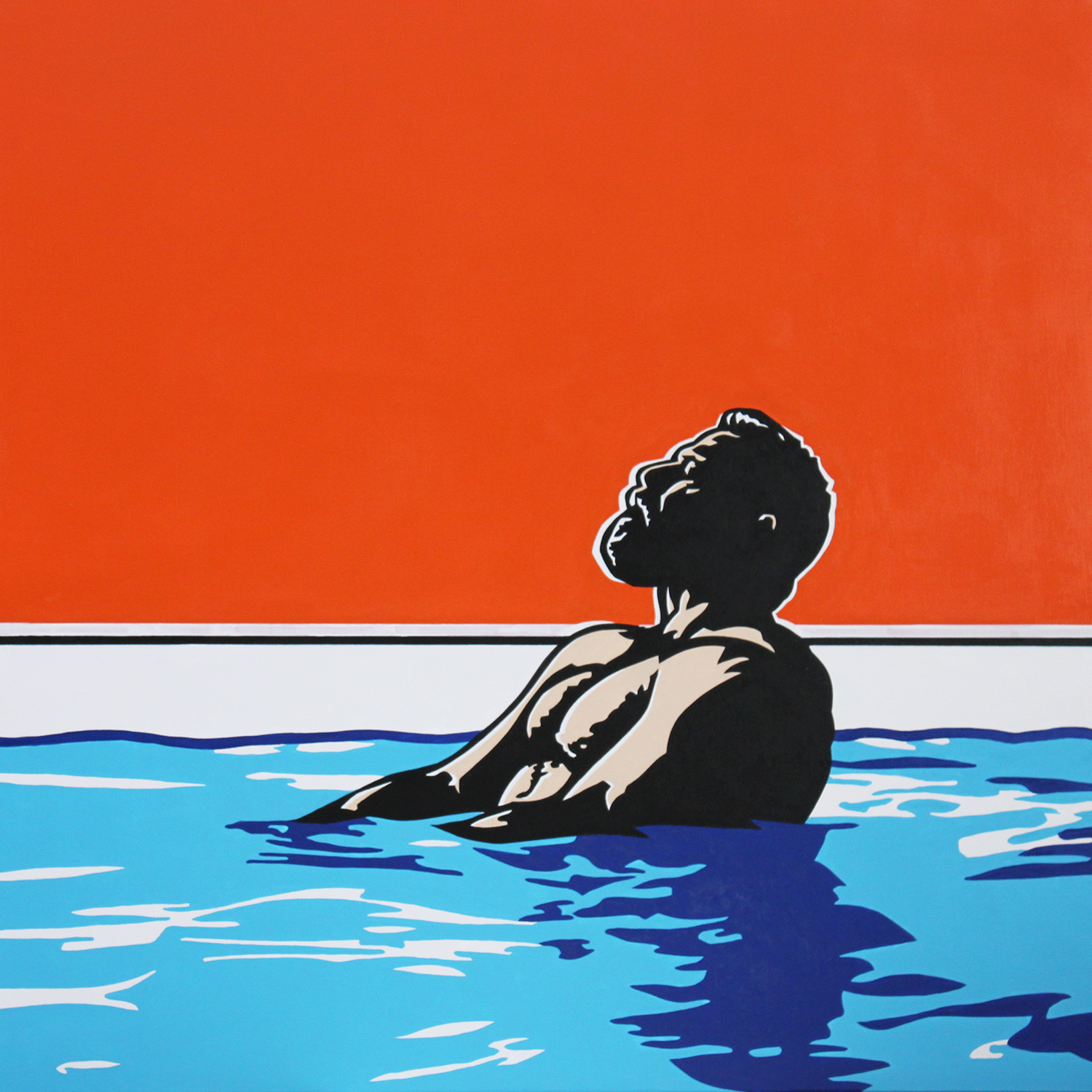 Afternoon by the Pool ll, 2017 Enamel on canvas 40x40""
