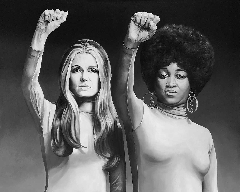 "Tess Barbato, Gloria Steinem and Dorothy Pittman Hughes, 2018 Oil on canvas 48x60"""