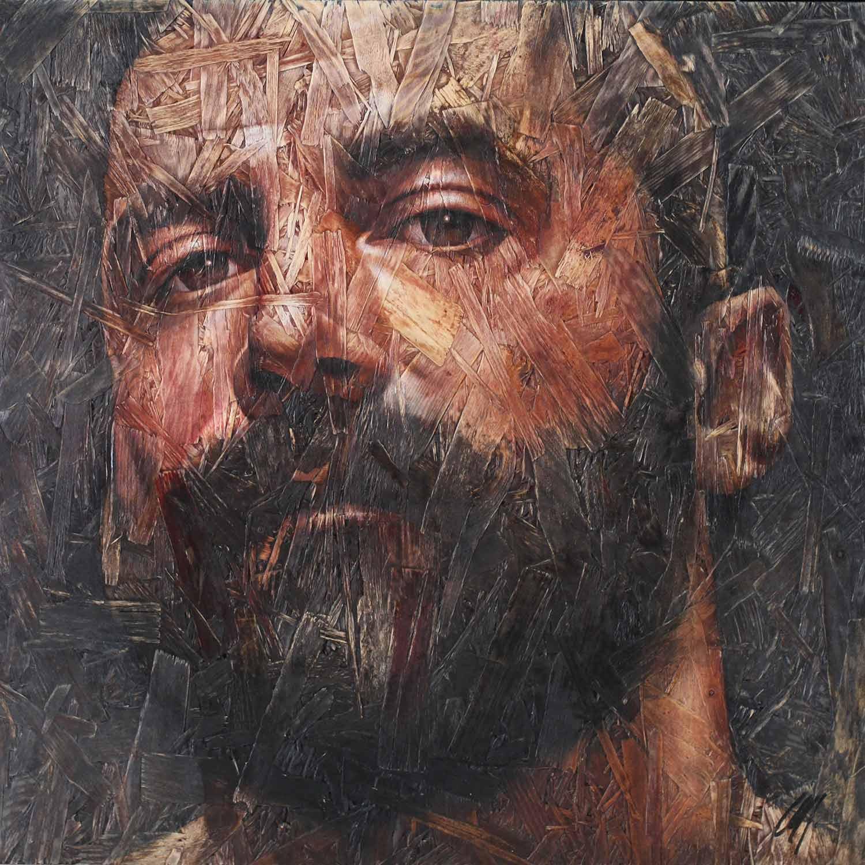 "Chris Lopez, Introspection 7, 2018 Acrylic on panel 20x20"""