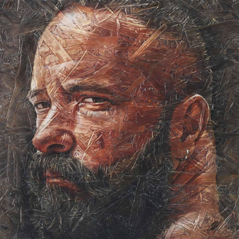 "Chris Lopez, Introspection 11, 2018 Acrylic on panel 20x20"""