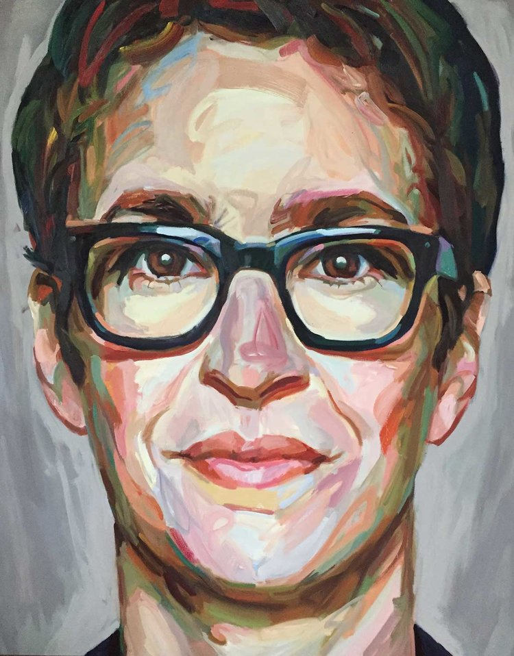 "Maddow (2017, 48"" x 60"", oil on canvas) by Jo Hay"