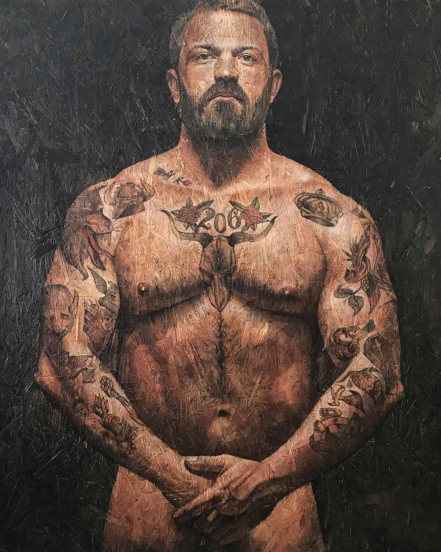 "Urban Saint 6, 2018 Acrylic on panel 48x60"""