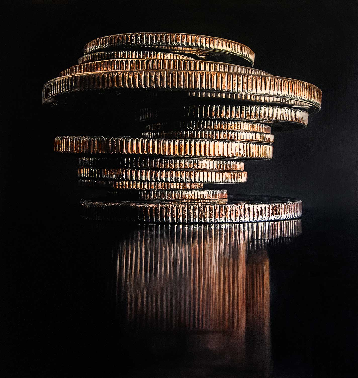 """Large Coin Stack 1, 2018 Oil on canvas 40x42"""""""