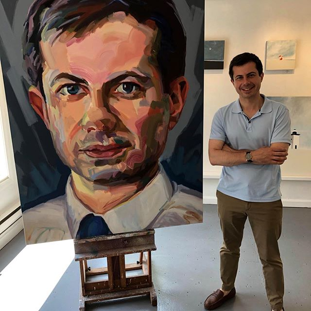 #PETETOWN !!!!! @pete.buttigieg MAYOR PETE with his portrait that my brilliant wife Jo Hay painted! It doesn't get better than this! What an honor! Thank you @adampeckgallery for showing Jo's portrait. #petebuttigieg #petebuttigieg2020 #PeteInPTOWN #provincetown #johay #adampeckgallery @chasten.buttigieg @pete.buttigieg @johayartist