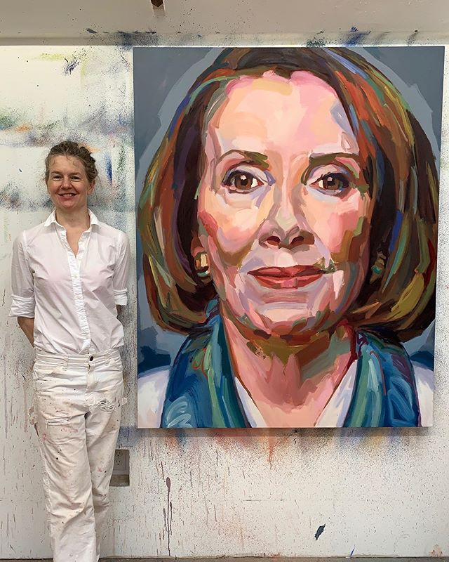 """Jo Hay's latest portrait painting of The Honorable Speaker of The House of Representatives Nancy Pelosi. The only woman to have done so in the history of our country. As Speaker of the House, she is second in the presidential line of succession, immediately after the vice president. """"The president must be held accountable. No one is above the law. Getting back to our founders in the darkest days of the American Revolution, Thomas Paine wrote, """"The times have found us."""" The times found them to fight for and establish our democracy. The times have found us today. Not to place ourselves in the same category of greatness as our founders but to place us in the urgency of protecting and defending our Constitution from all enemies foreign and domestic"""". ~ Speaker of the House, Nancy Pelosi.  This large scale oil painting can be seen at The Provincetown Commons 46 Bradford Street, Provincetown MA beginning today till October 31st. It will be part of Jo's ongoing series """"PERSISTERS"""" Reception October 15th from 3-5:30pm in honor of Women's Week.  #Persisters #neverthelessshepersisted #speakerofthehouse #houseofrepresentatives #nancypelosi #womenempowerment #womensupportingwomen #resistance #persist #congress #impeachtrump #democrats #johay @speakerpelosi @johayartist"""