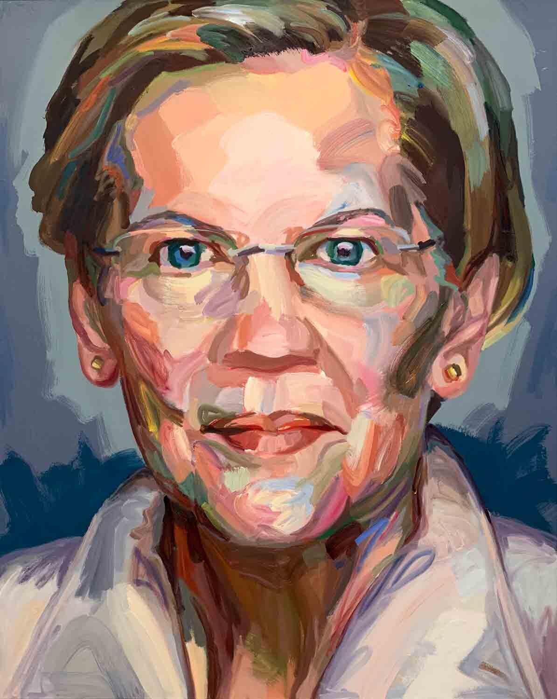 """Jo Hay, Elizabeth Warren, 2019 Oil on canvas, 48x60"""""""