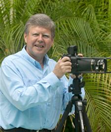 Photographer David Lawrence with a Fuji 6x17cm film panorama camera