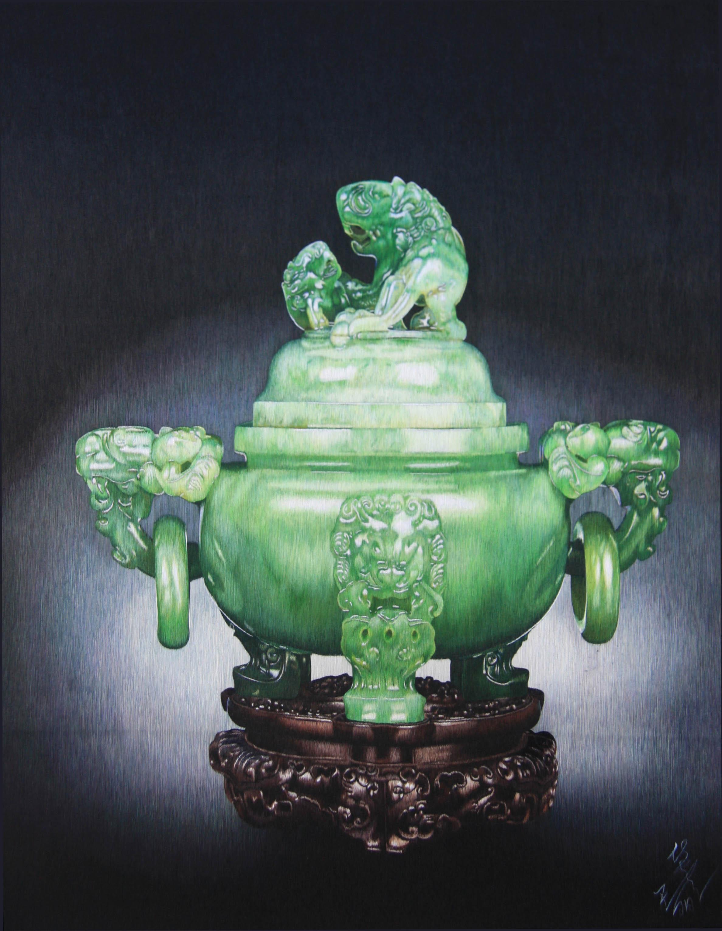 Jade Incense Burner with Dragons <br> 翠玉双龙炉