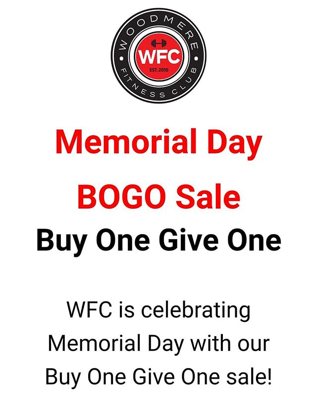 Last day to purchase our Memorial Day BOGO Sale💥  Double the fitness & double the fun when you join with your fit friend!  Purchase a New Member 30 Day class membership and give one to a friend for FREE! 💪💪💪 Purchase an Introductory Session for our Starting Strength program and give one to a friend for FREE!!! 💥Sale ends today so act now! *Details in Bio⏫