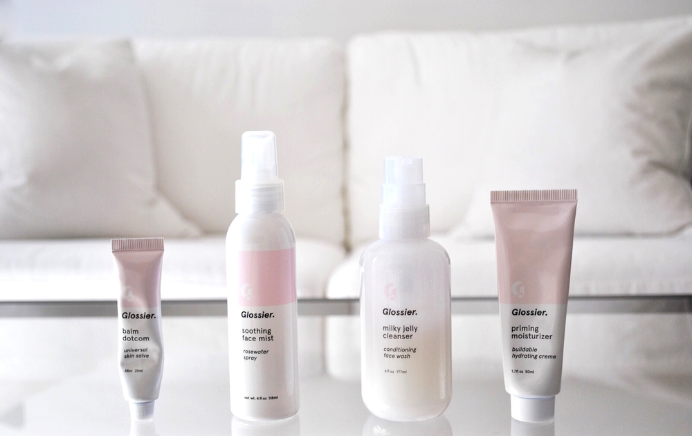 Glossier Balm Dot Com, Glossier Soothing Face Mist, Glossier Milky Jelly Cleanser and Glossier Priming Moisturizer