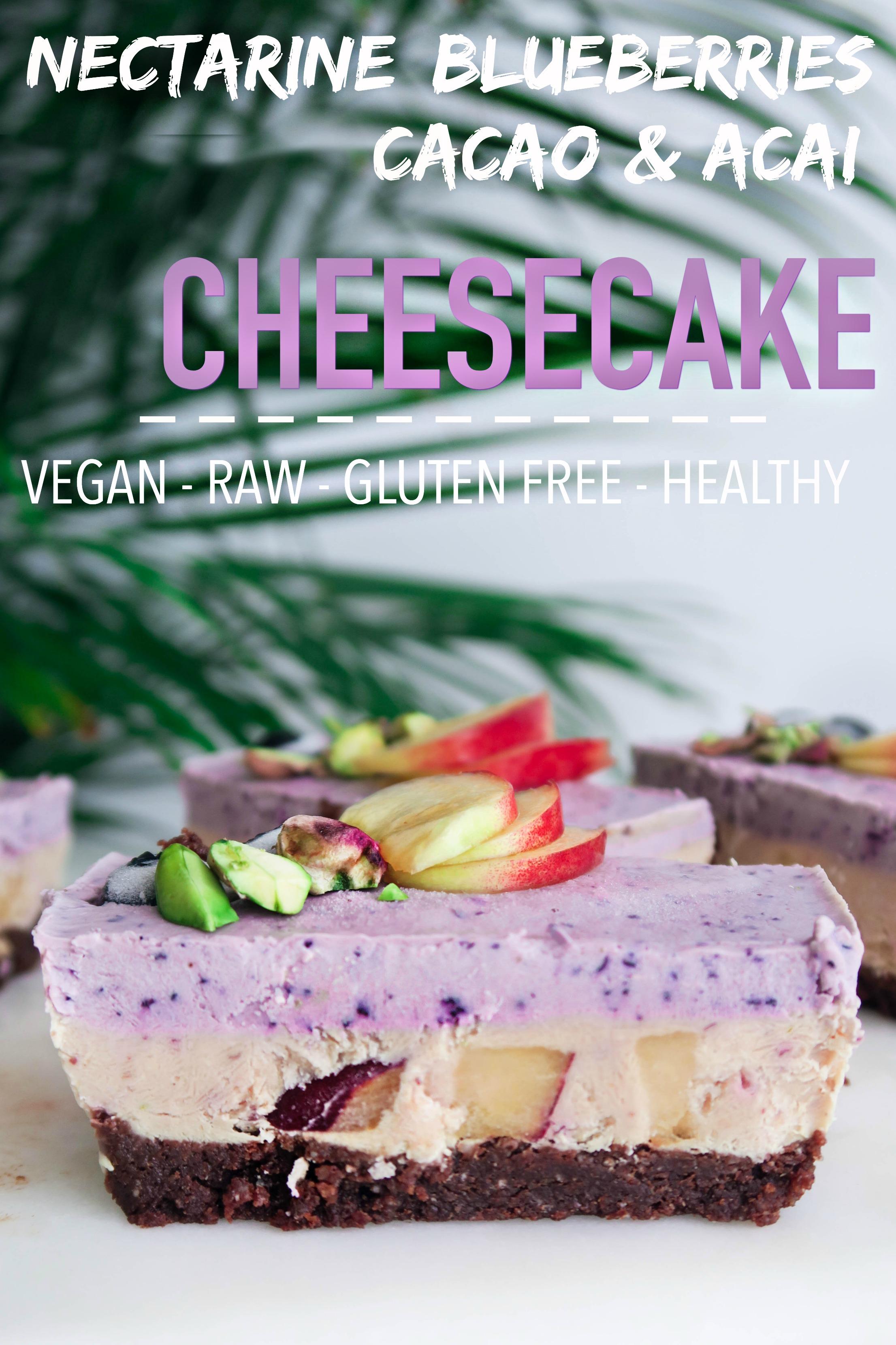 Nectarine, Blueberries, Acai & Cacao Cheesecake (Vegan, Raw, Gluten-Free, Healthy)