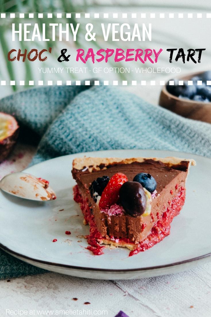 Vegan Chocolate & Raspberry Tart - Healthy & Wholefoods (Recipe at www.amelietahiti.com)