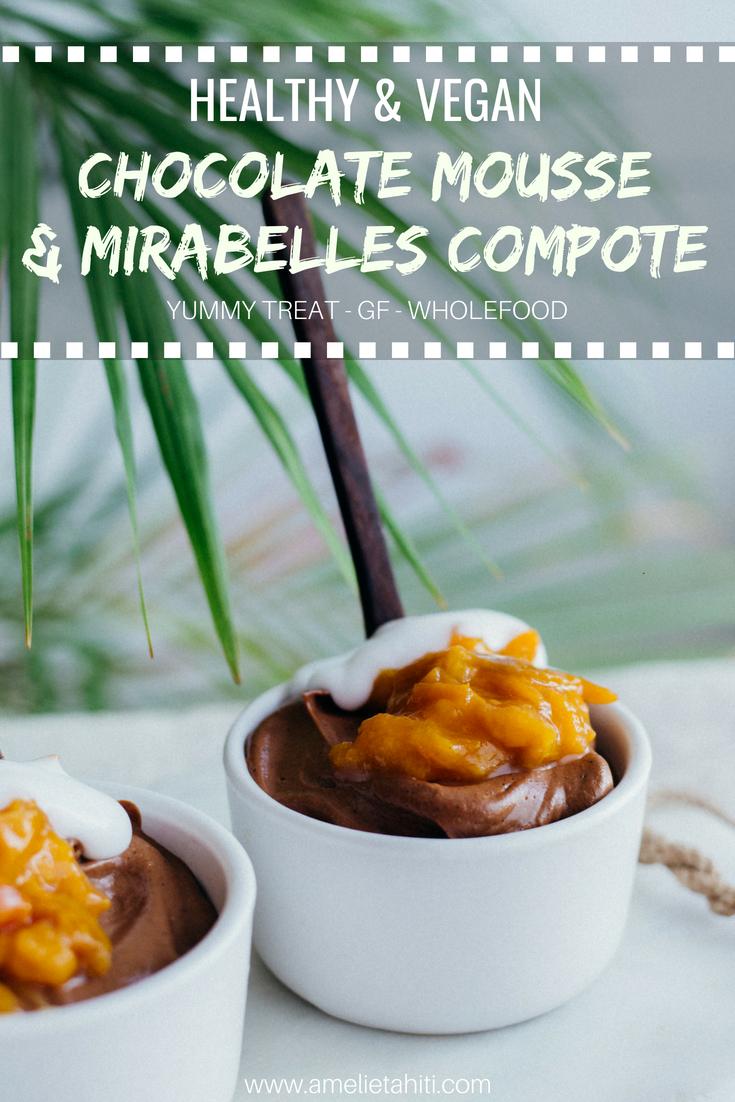 Vegan Healthy Chocolate Mousse (GF, wholefoods) - recipe at: amelietahiti.com