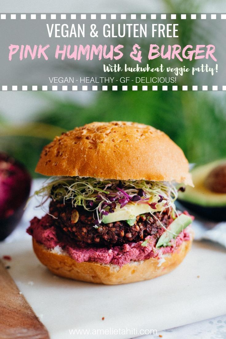 Pink Creamy Hummus & Vegan GF Buckwheat Burger - recipe at: www.amelietahiti.com