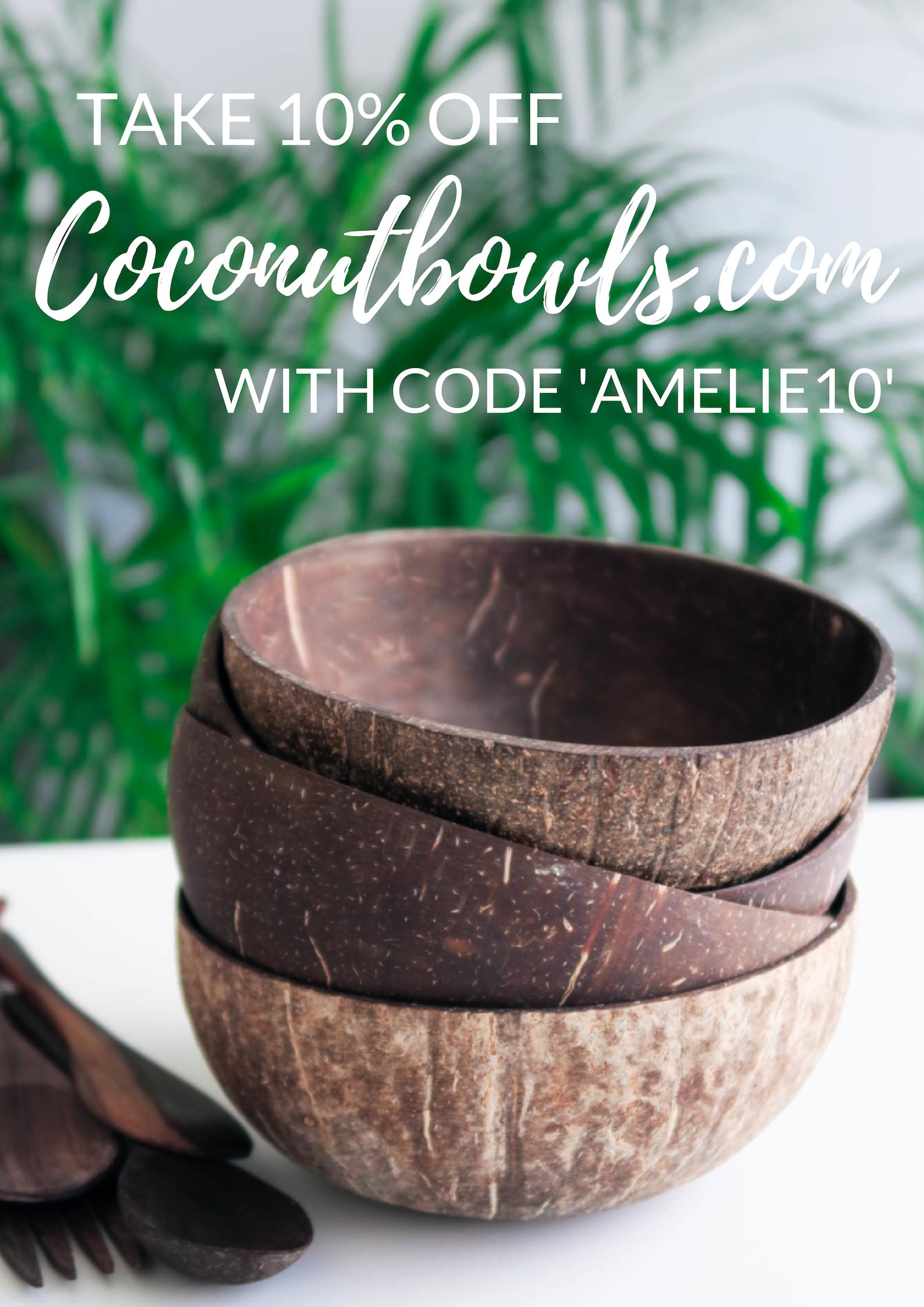 """Mes bols en coco de chez  coconutbowls .  Utilisez le code """"AMELIE10"""" pour obtenir une jolie réduction !"""