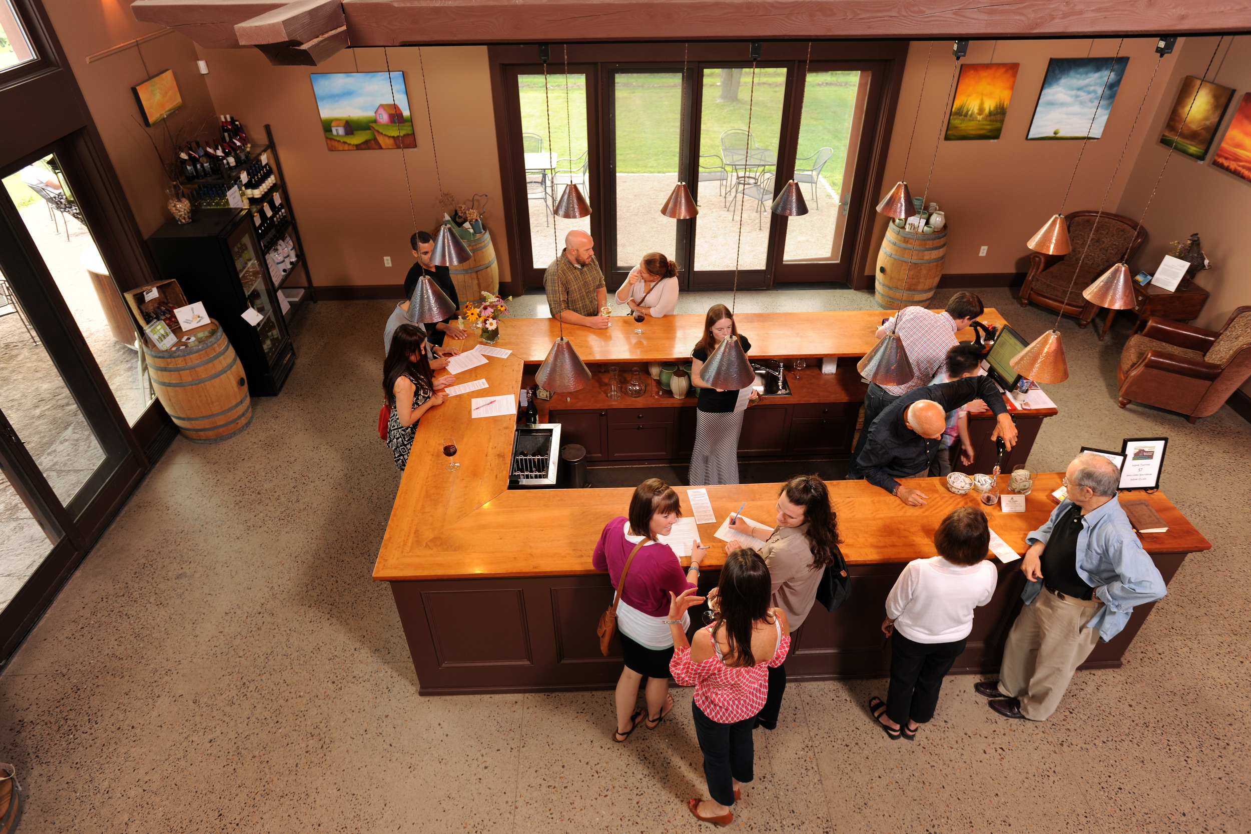 Overlooking bar in tasting room
