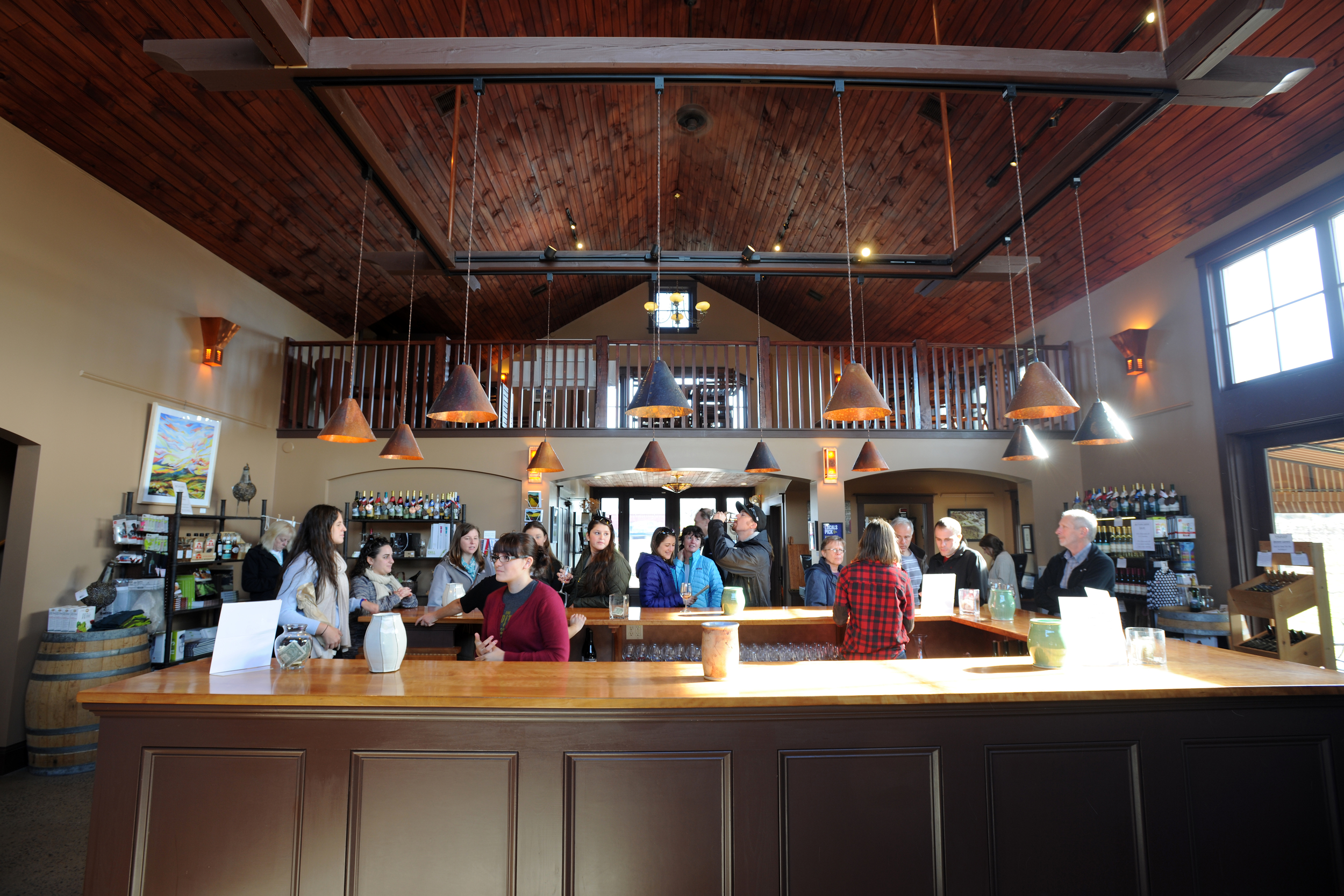 View of tasting room and bar