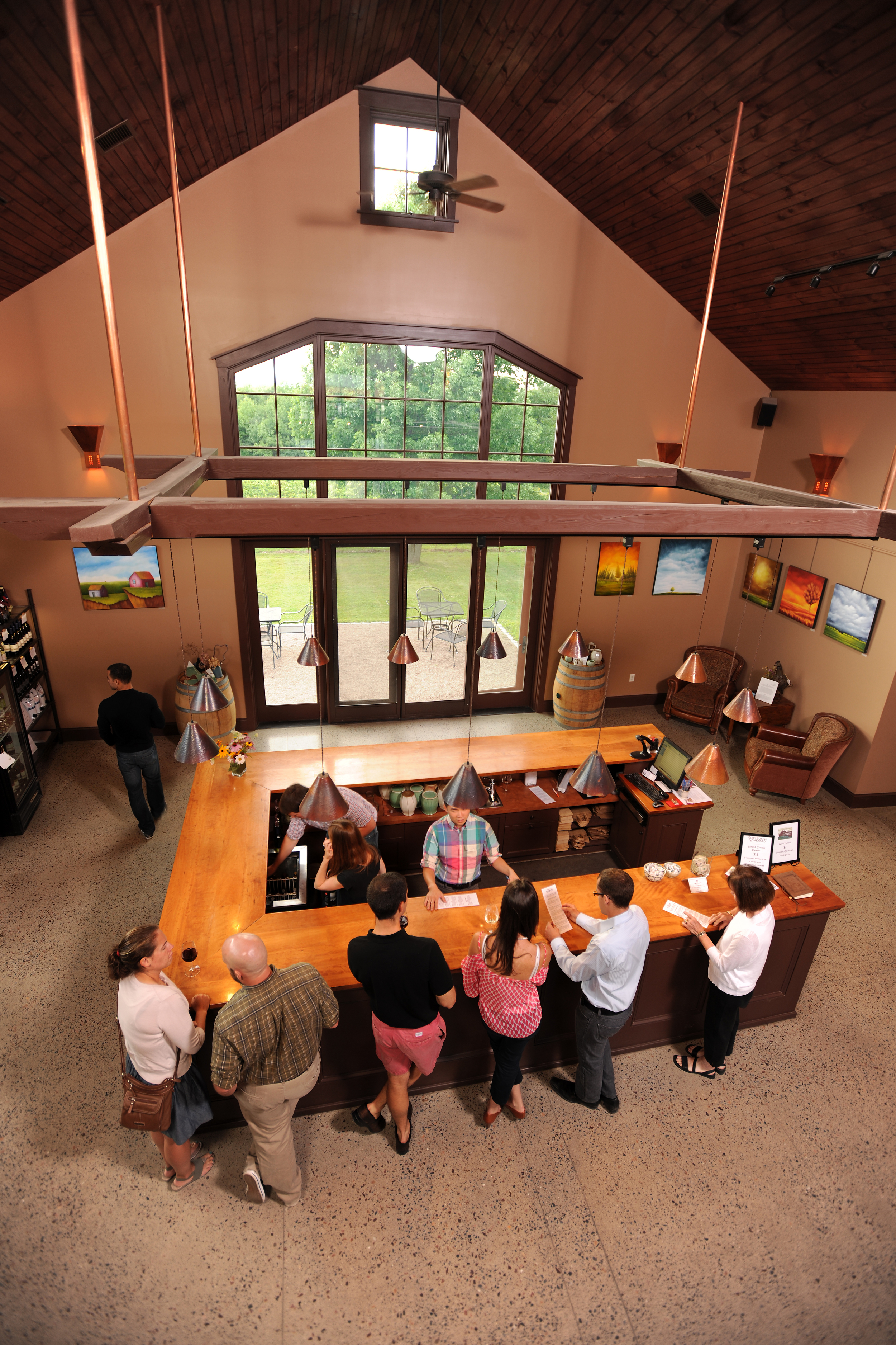 View of Tasting room bar from overhead
