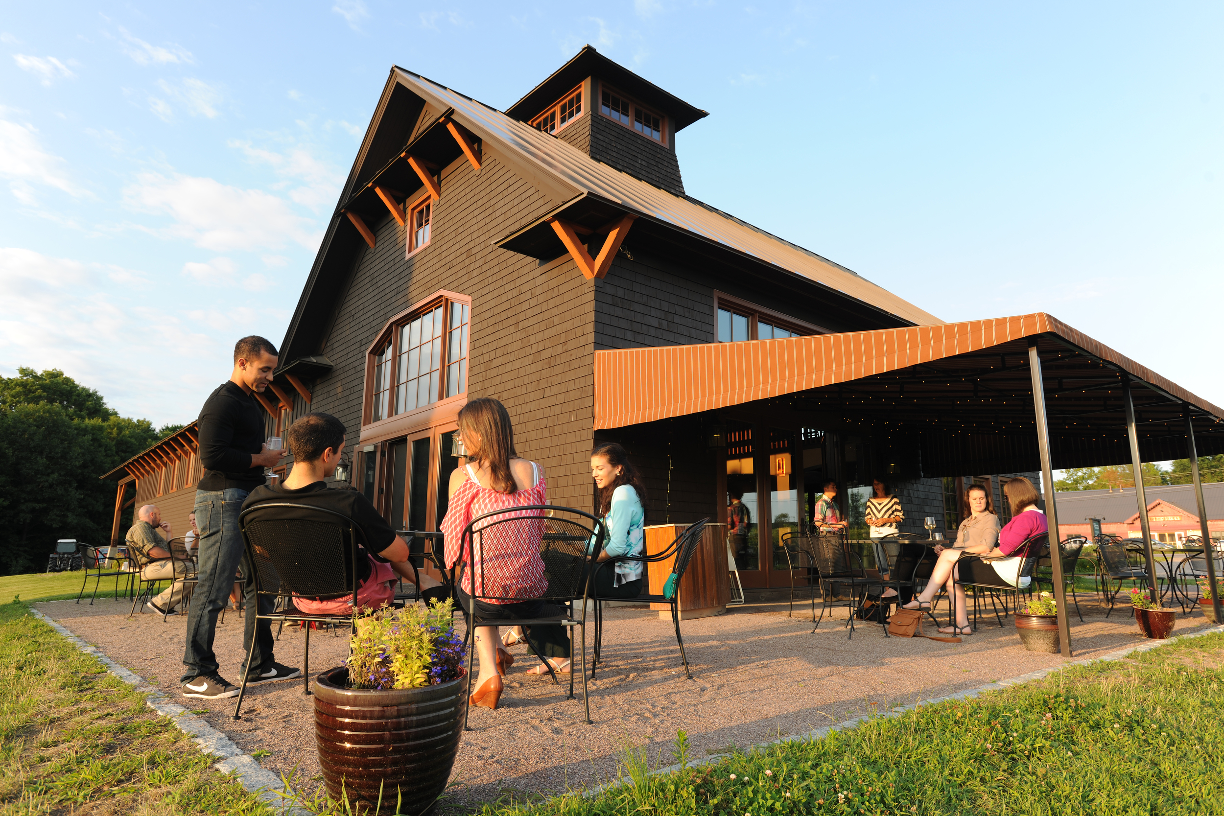 Outside view of tasting room and patio