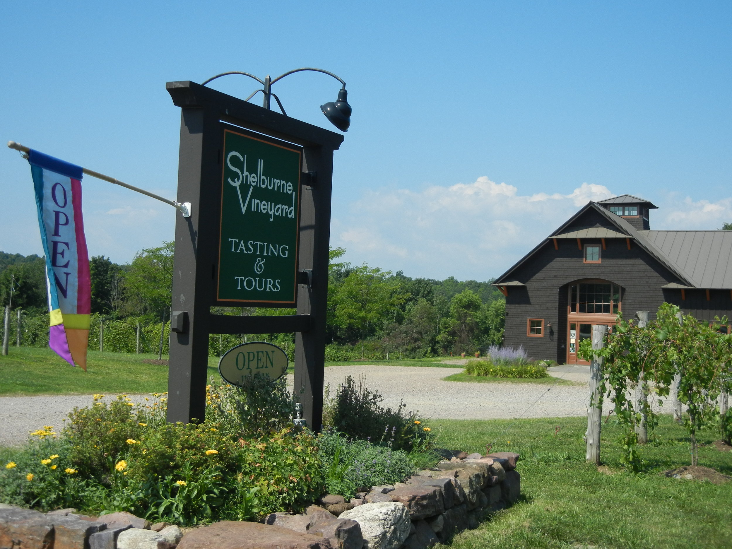 Shelburne Vineyard entrance and welcome sign.jpg