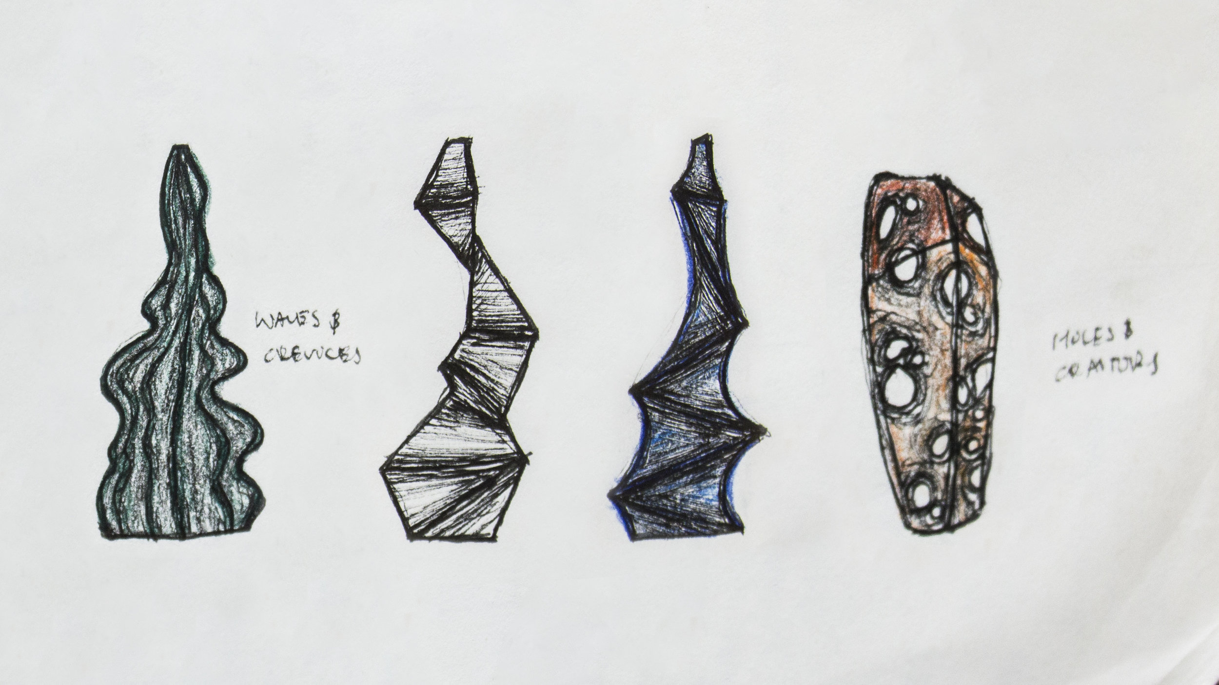 Original sketches of my Raku pieces, Phase, Arid, and Rigid.