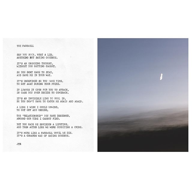 The Farewell . . . #jtr #contemporaryart  #art #poetry #poem #poet #photography #diptych #photograph #moon #driving  #the #farewell #typewriter #typewriterpoetry