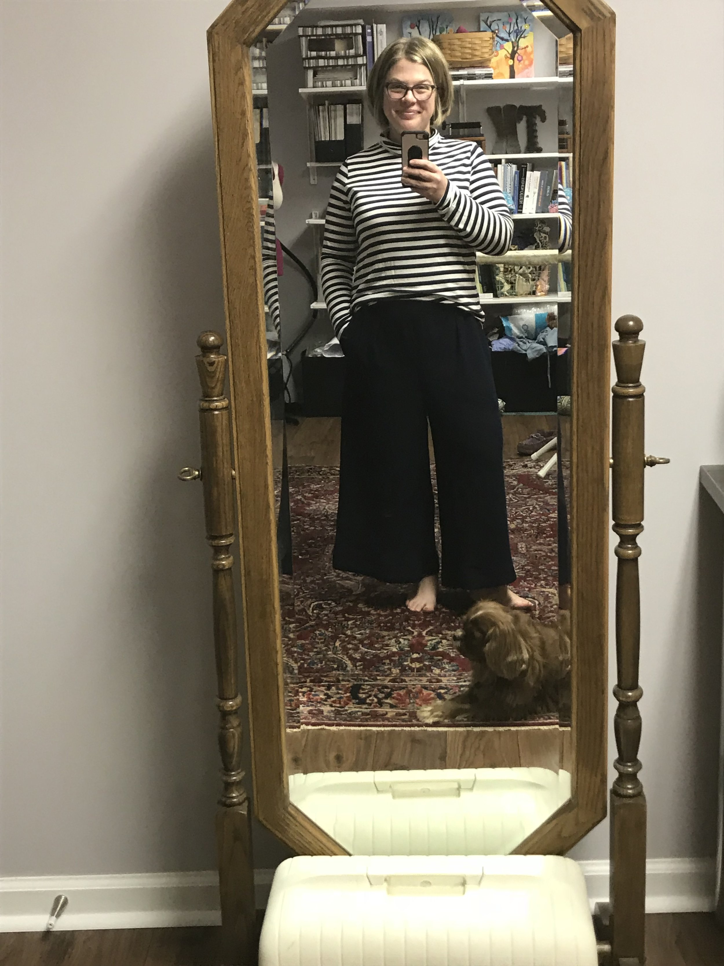 The Megan Nielsen  Flint Pants  in a navy rayon crepe