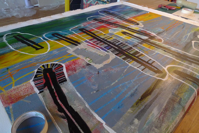 travail au masking tape sur la table...