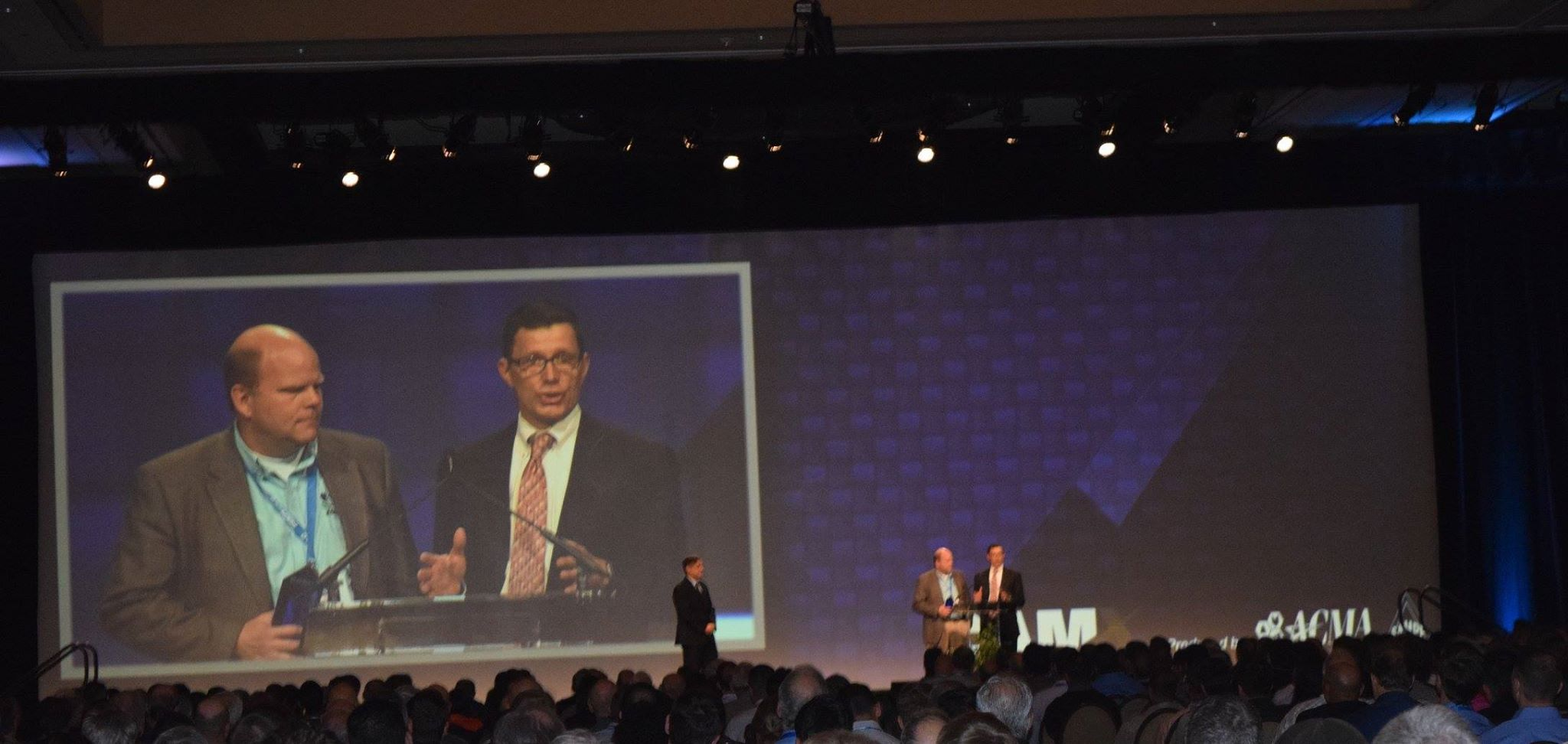 Lonnie Love (Oak Ridge National Lab)  and Rick Neff (Cincinnati Incorporated) Accepting the Combined Strength Award at CAMX