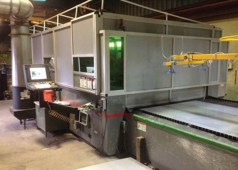 Figure 3.  The new fiber laser cutting system saves money due to the lower cost of air compared to nitrogen. With air assist, the required compressor is only 15 HP.