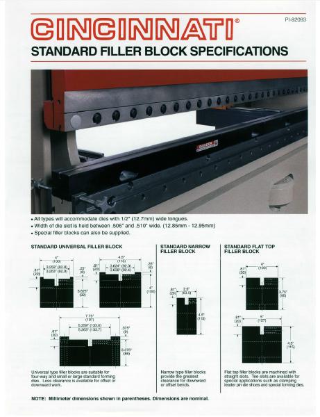 Press Brake Standard Filler Block Specifications