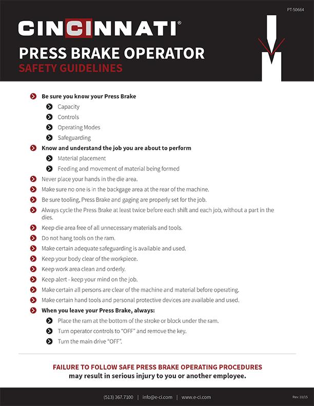 Press Brake Safety Guidelines