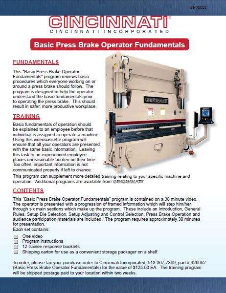 Basic Press Brake Operator Fundamentals