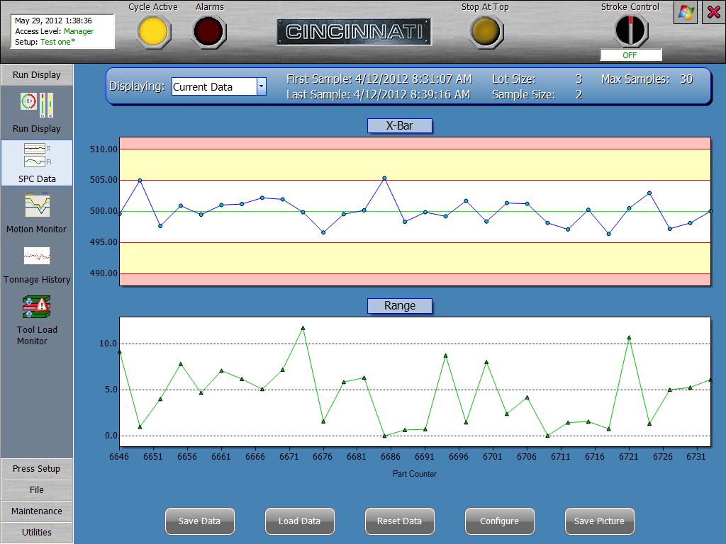 Powder Metal Press SPC Data Screen