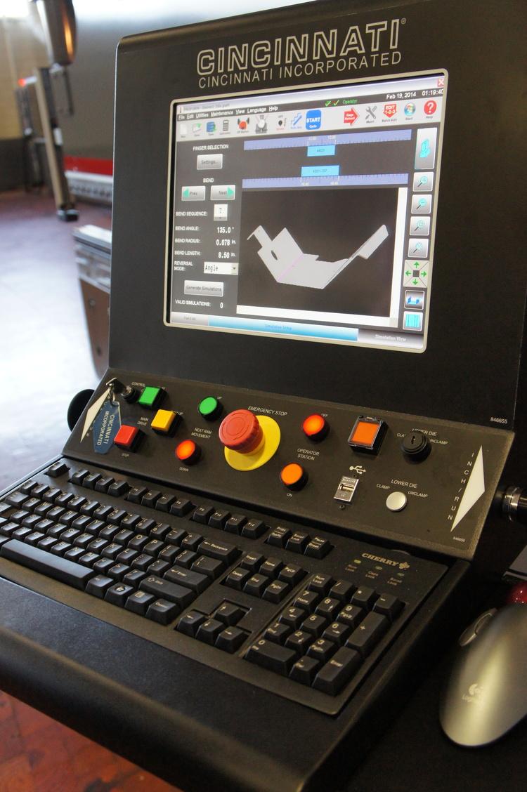 Press Brake HMI Touchscreen with Bend Sim Software