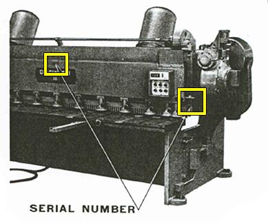 Mechanical & Hydraulic Shear Serial Number Location