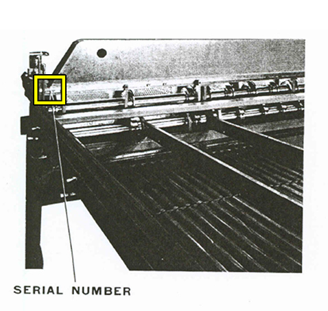 Sheet Slitter Serial Number Location