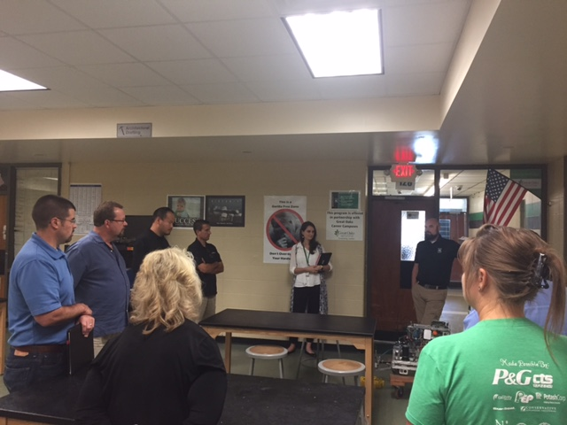 Submitted photo: Employees from Cincinnati Incorporated, along with several SLSD administrators and teachers, brainstorm next steps for Harrison Junior School's STEAM lab