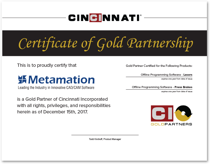 Metamation Gold partner Certificate