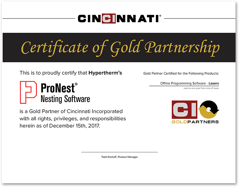 ProNest Gold Partner Certificate
