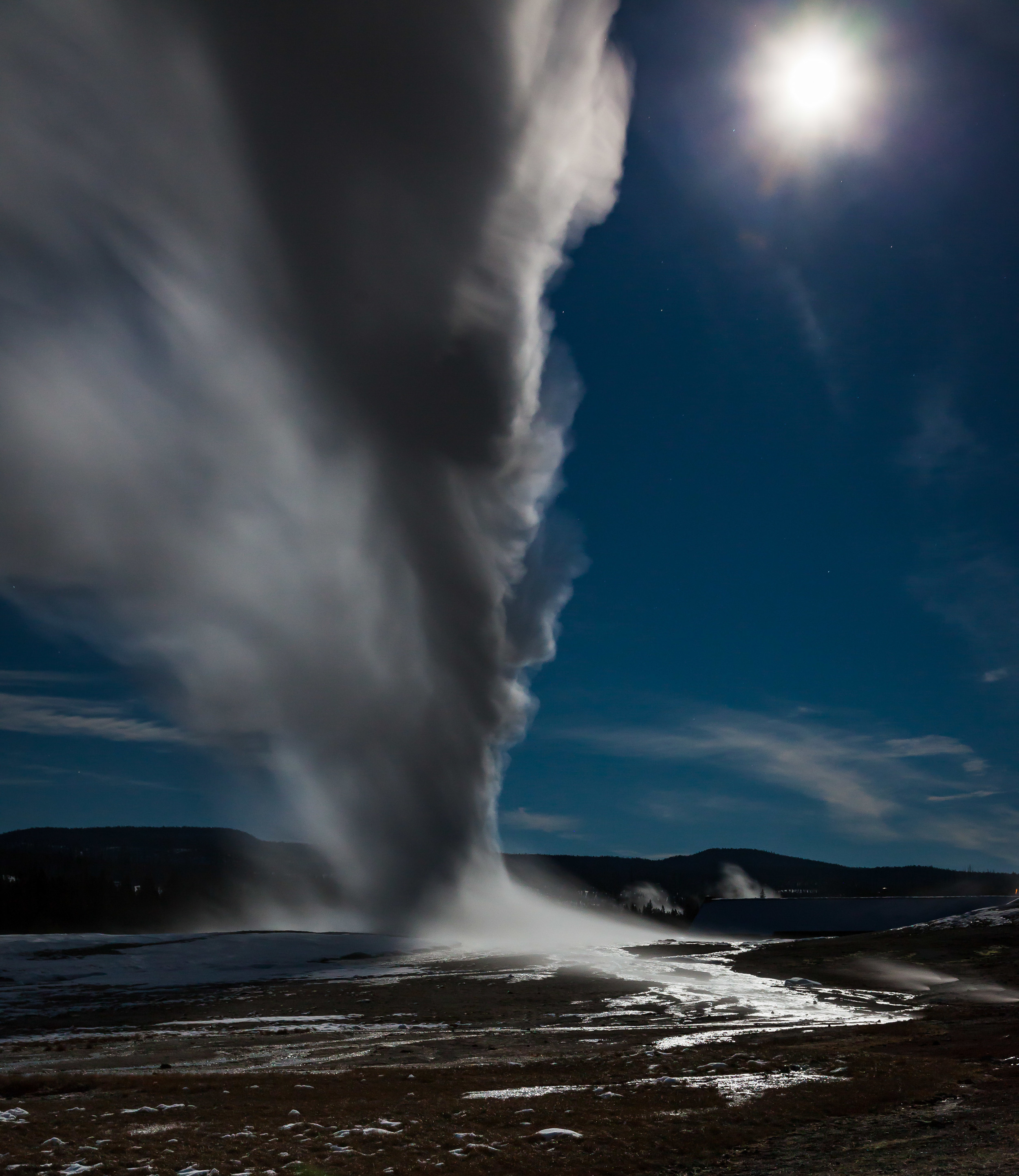 Old Faithful Under A Full Moon