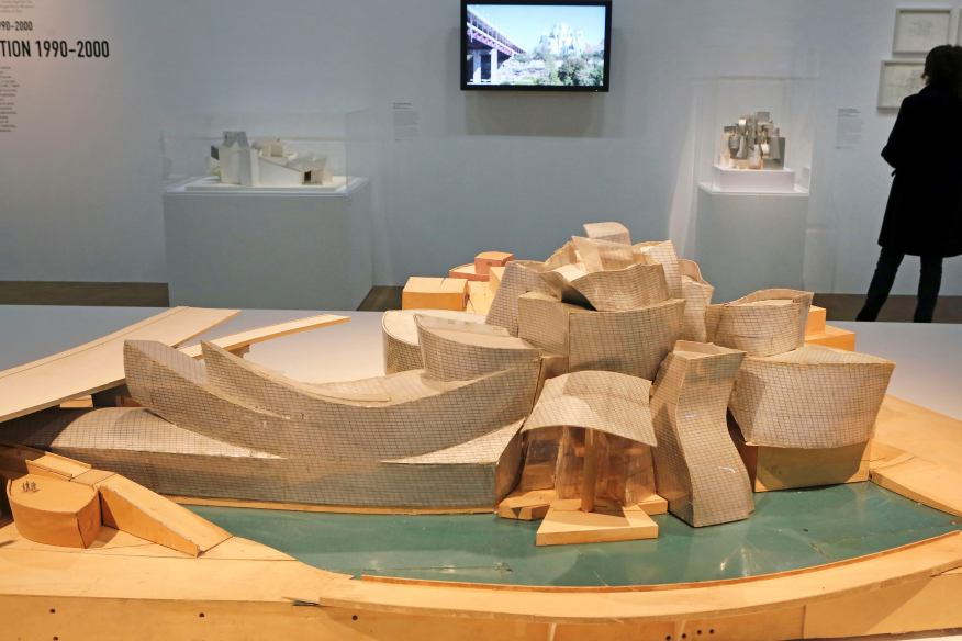 Projects like Bilbao begin with simple basswood block models, with often irregularly shaped blocks representing the main spaces.
