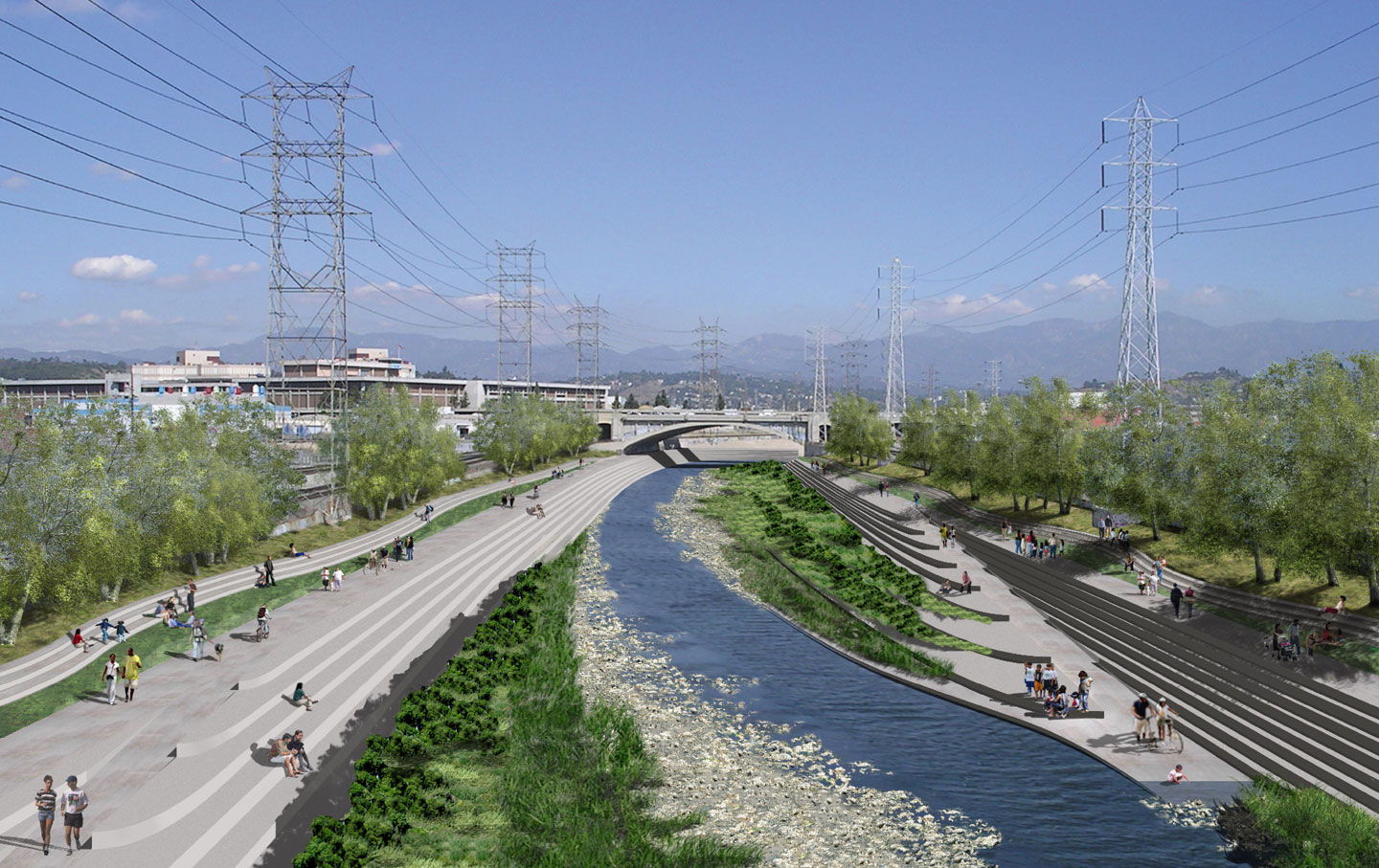 Gehry is currently working on a masterplan for the L.A. River — a concrete channel which flows through L.A. County.