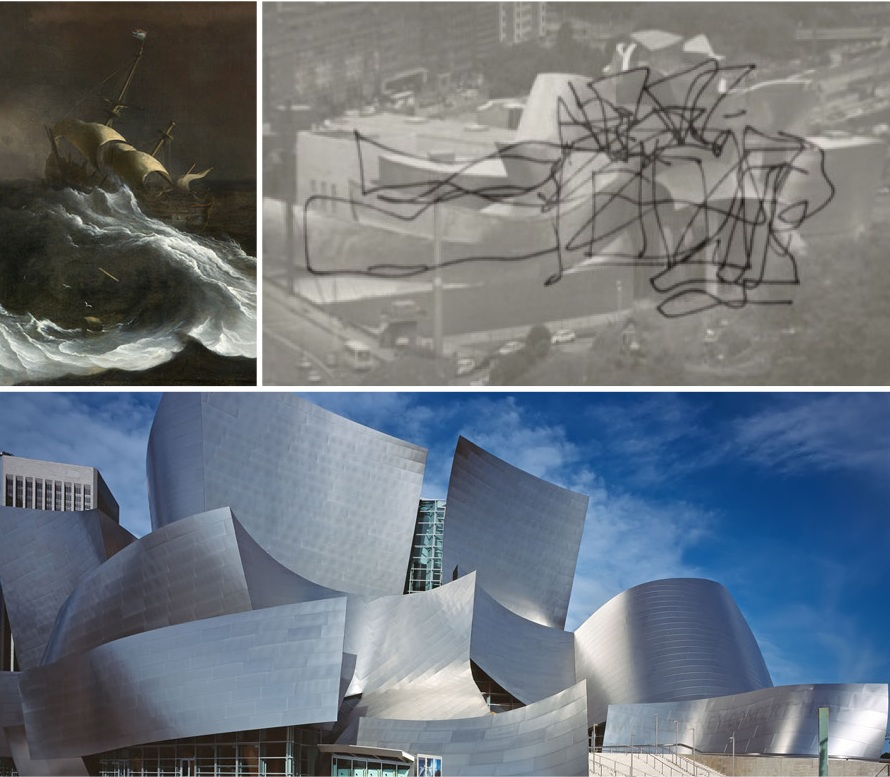 Disney Concert Hall and Guggenheim Bilboa — which began about the same time — share a vocabulary, strongly influenced by the billowing sails and stormy, roiling ocean of Dutch master paintings.